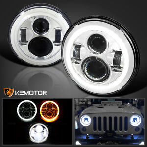 7 Inch Halo Angel Eyes Led Projector Headlights For 97 16 Jeep Wrangler Jk Tl