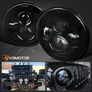 2x For Jeep Wrangler 7 Inch Round H13 H4 45w Led Projector Headlights Black