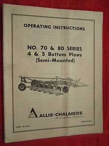 Vintage Allis Chalmers 70 80 Series 4 5 Bottom Plow Operating Parts Manual