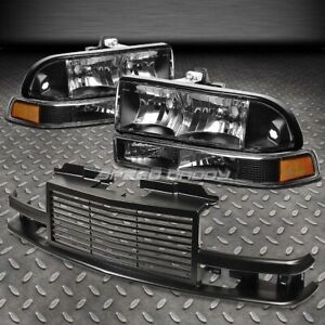 Black Housing Headlight amber Park Signal 2pc Front Grill For 98 04 S10 blazer