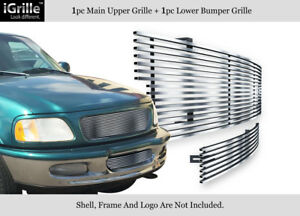 Fits 1997 1998 Ford F 150 4wd Bar Style Expedition Stainless Billet Grille Combo
