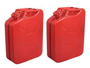 2 Jerry Cans 20 Liters 5 Gallons Backup Steel Tank Fuel Gas Gasoline Red