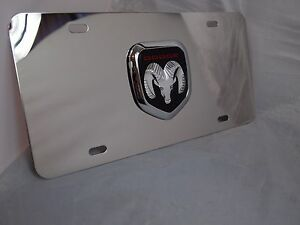 Pilot Universal Dodge Logo 3d Logo Chrome Stainless Steel License Plate