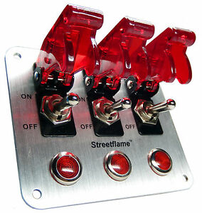 3 Toggle Switch Led Nitrous Activate Panel Red Safety Covers Aircraft 12 Volt