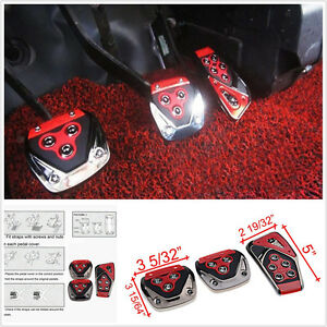 Red 3 Pcs Non Slip Performance Foot Pedals Pads Covers For Manual Car Universal