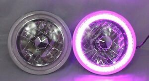 97 18 Jeep Wrangler Tj Jk 7 Purple Led Smd Halo Round Chrome Clear Headlights