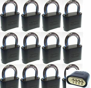 Combination Lock Set By Master 178dblk lot 12 Resettable Brass Insert Black