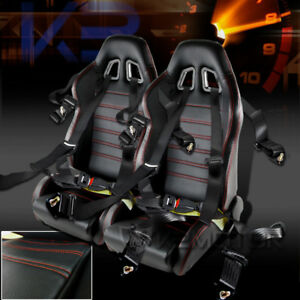 Pair Black Red Pvc Leather Reclinable Racing Seats 4 Point Seat Belt Harness