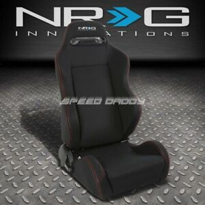 Nrg Type R Fully Reclinable Red Stitch Racing Seat Mount Slider Passenger Side