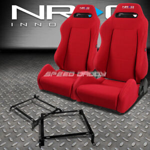 Nrg Type r Red Reclinable Racing Seats bracket For 88 91 Honda Crx Dx si Ee Ef