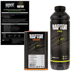 U pol Raptor Black Urethane Spray on Truck Bed Liner Texture Coating 2 Liters