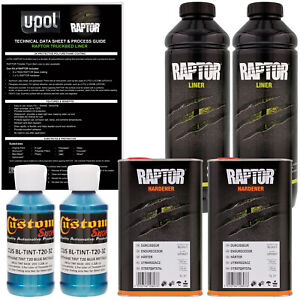 U Pol Raptor Tintable Blue Metallic Spray On Truck Bed Liner Coating 2 Liters