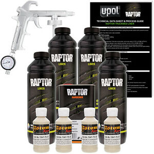 U Pol Raptor Tintable Shoreline Beige Spray On Truck Bed Liner Spray Gun 4 Liter