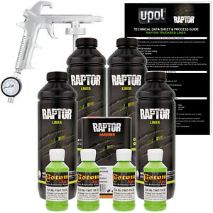 U pol Raptor Tintable Lime Green Spray on Truck Bed Liner Spray Gun 4 Liters