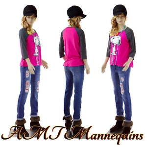 Female Mannequin Realistic Looking Full Body Metal Stand Teen Girl F14 2wigs