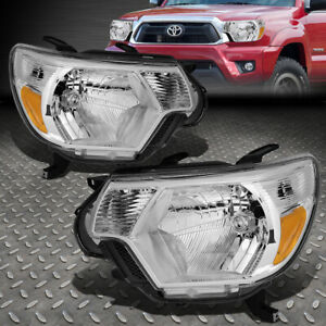 For 12 15 Toyota Tacoma Chrome Housing Amber Corner Headlight Replacement Lamps