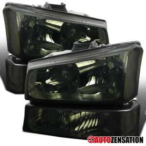 2003 2006 Chevy Silverado Avalanche Smoke Headlights Bumper Signal Lamps Pair