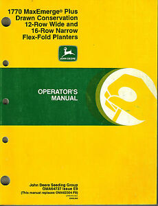 John Deere 1770 Flex fl Maxemerge Plus Planter Operator s Manual new Jd 1997