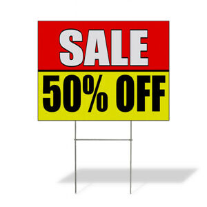 Weatherproof Yard Sign Sale 50 Off Promotion Business Red Lawn Garden