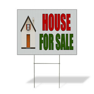 Weatherproof Yard Sign House For Sale Real Estate Green Lawn Garden