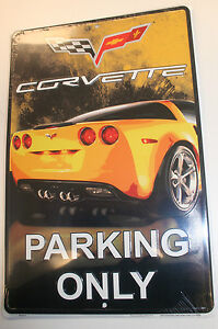 Chevrolet Chevy Corvette Parking Only Logo Street Tag Aluminum Sign Gm Gmc Trade