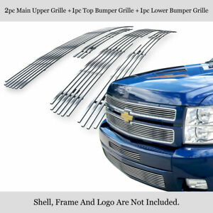 Fits 2007 2012 Chevy Silverado 1500 304 Stainless Steel Billet Grille Combo
