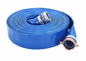 2 X 50 Ft Blue Pvc Water Discharge Hose