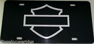 Harley Davidson Motorcycle Black Acrylic Silhouette Outline License Plate Tag