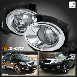 Fits 2013 2016 Nissan Pathfinder Clear Lens Bumper Driving Fog Lights Switch