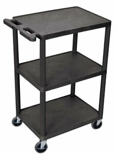 Luxor Multipurpose 3 Shelves Structural Foam Plastic Storage Utility Cart Black