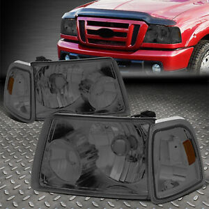 For 01 11 Ford Ranger Smoked Housing Amber Corner Headlight Replacement Headlamp