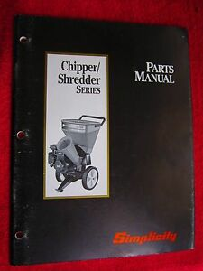 1993 Simplicity Wood Chipper shredder Series Parts Manual