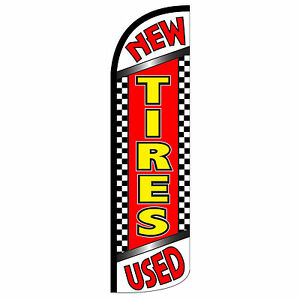 New Used Tires Flag Flutter Feather Banner Swooper Extra Wide Windless