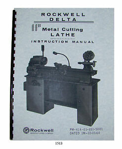 Rockwell 11 Metal Lathe Instruct parts Manual Early Sn 138 9100