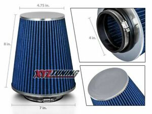 4 Blue Truck Long Performance High Flow Cold Air Intake Cone Dry Filter