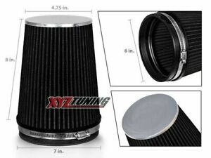 6 Black Truck Long Performance High Flow Cold Air Intake Cone Dry Filter