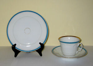Old Paris Style China Small Plate Cup Saucer Fgc Blue Gold Bands C1880