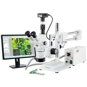Amscope 2x 225x Trinocular Boom Stand Stereo Zoom Microscope 18mp Camera