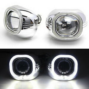 3 0 H1 Bi xenon Projector Lens W Square Led Halo Ring Shrouds For Headlights