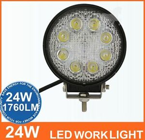 2x 24w Round Led Flood Work Light Fog Car 12 24v 4wd Offroad Camping Jeep Boat