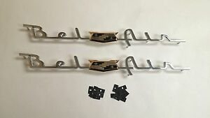 1953 1954 Chevy Belair Rear Quarter Emblem Scripts Bel Air Pair
