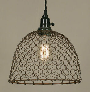 Primitive New Rusty Chicken Wired Hang Light Plug In Light Nice