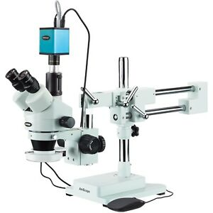 3 5x 90x Trinocular Stereo Microscope 144 led Ring Light And Af Camera