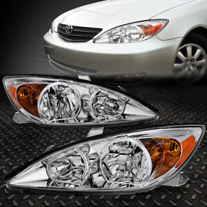 For 2002 2004 Toyota Camry Pair Chrome Housing Amber Corner Headlight lamp Set