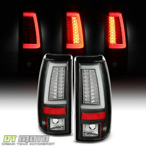 Black 2003 2006 Chevy Silverado 1500 2500hd 3500 Led C Tube Tail Lights Set