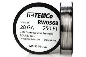 Temco Stainless Steel Wire Ss 316l 28 Gauge 250 Ft Non resistance Awg Ga