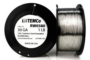 Temco Stainless Steel Wire Ss 316l 30 Gauge 1 Lb Non resistance Awg Ga