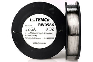 Temco Stainless Steel Wire Ss 316l 32 Gauge 8 Oz Non resistance Awg Ga