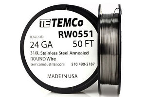 Temco Stainless Steel Wire Ss 316l 24 Gauge 50 Ft Non resistance Awg Ga