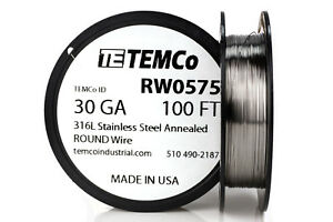 Temco Stainless Steel Wire Ss 316l 30 Gauge 100 Ft Non resistance Awg Ga